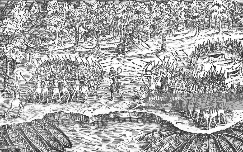 Samuel Champlains Sketch Of First Encounter With Iroquois
