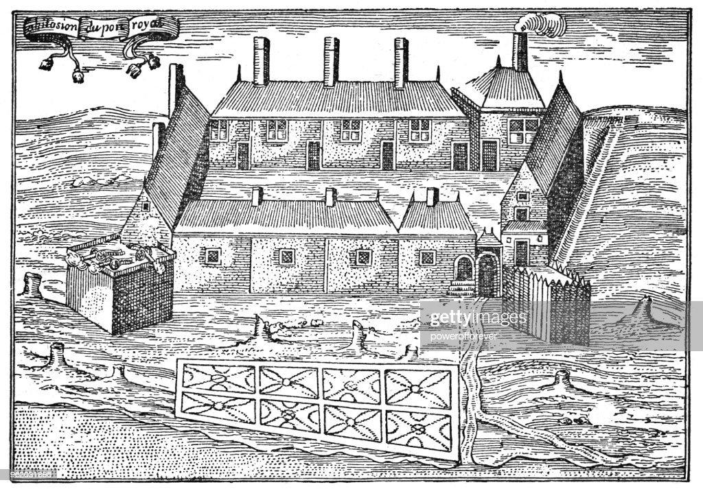 Samuel Champlain's Sketch of Port Royal in Nova Scotia, Canada - 17th Century : Stock Illustration