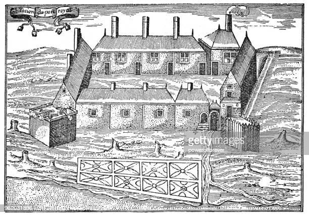 Samuel Champlain's Sketch of Port Royal in Nova Scotia, Canada - 17th Century