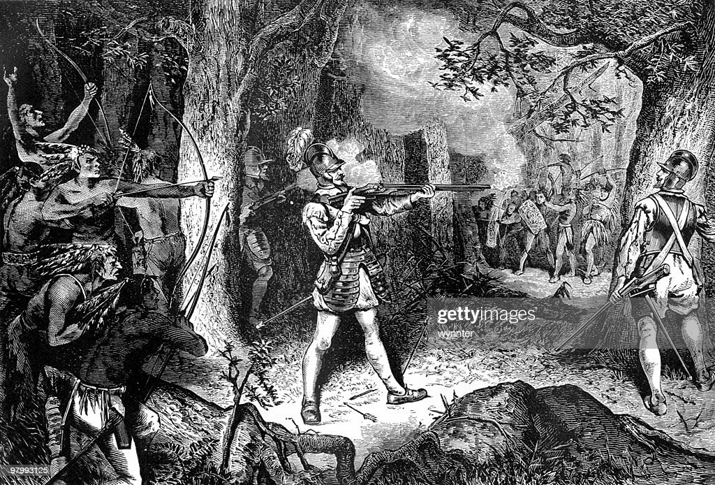 Samuel de Champlain Battles the Iroquois, 1609 : stock illustration