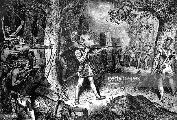 samuel de champlain battles the iroquois, 1609 - french culture stock illustrations