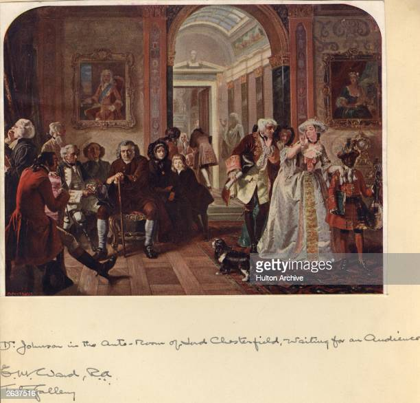 Samuel Johnson writer, critic, lexicographer and conversationalist, attends an 'at home' in the anteroom of Lord Chesterfield. Original Publication:...