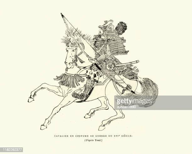 弓を運ぶ武士騎兵、搭載射手、16世紀 - 16世紀点のイラスト素材/クリップアート素材/マンガ素材/アイコン素材