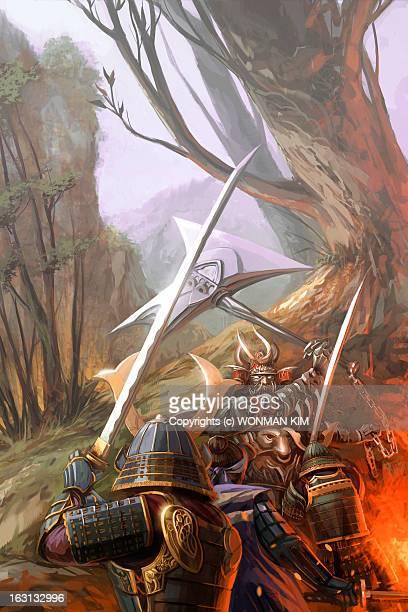samurai wars - war stock illustrations