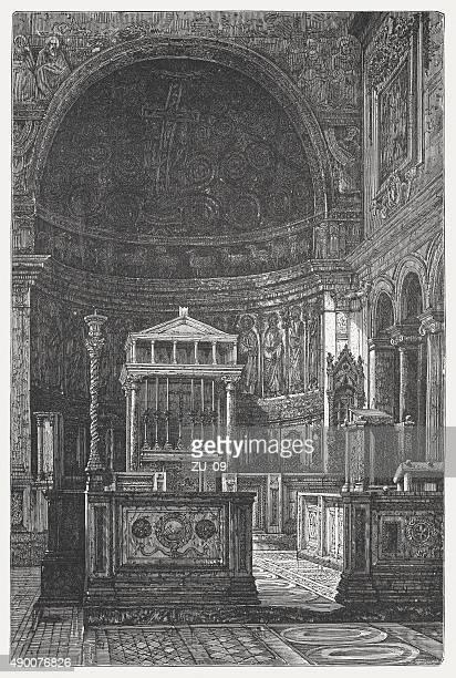 ilustrações de stock, clip art, desenhos animados e ícones de san clemente, em roma (construção do século 11), publicado 1878 - nicho