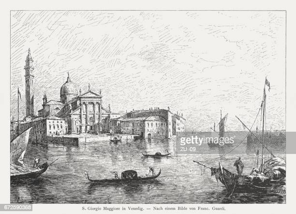 san giorgio maggiore, venice, italy, painted (1780) by francesco guardi - venice italy stock illustrations, clip art, cartoons, & icons