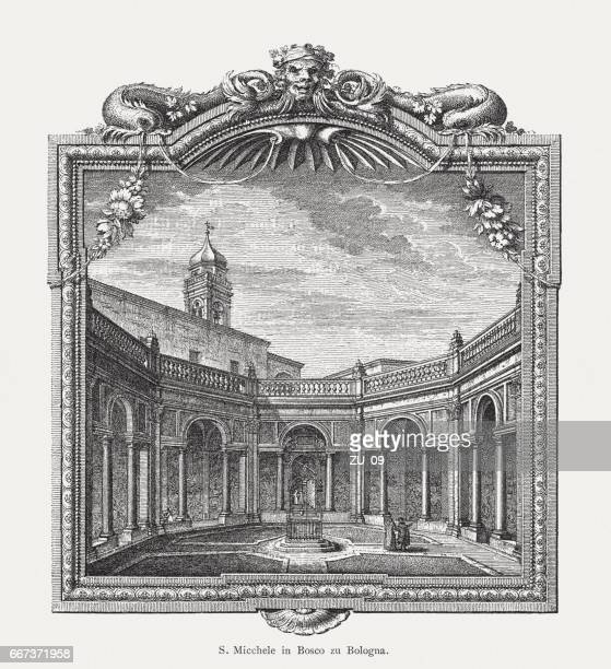 san michele in bosco, bologna, italy, 18th century, published 1884 - bologna stock illustrations, clip art, cartoons, & icons