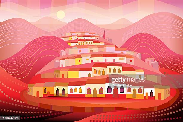 San Miguel de Allende, Mexico on Hills in Folk Style Illustration
