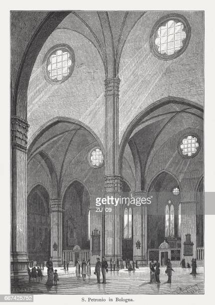 san petronio basilica, bologna, italy, wood engraving, published in 1884 - bologna stock illustrations, clip art, cartoons, & icons