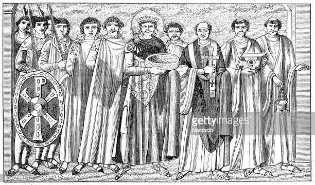 san vitale basilica, ravenna, italy: emperor justinian i - justinian i stock illustrations