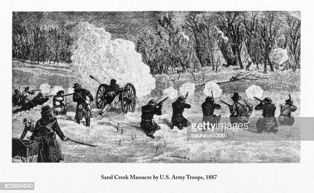 sand creek massacre by u.s. army troops engraving, 1887 - indigenous north american culture stock illustrations, clip art, cartoons, & icons