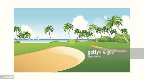 sand traps on a golf course - sand trap stock illustrations, clip art, cartoons, & icons