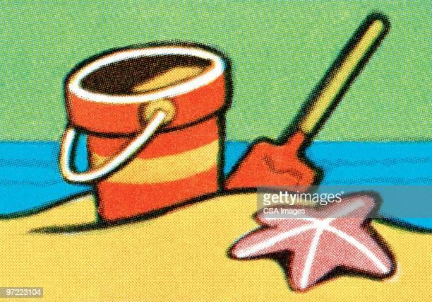ilustraciones, imágenes clip art, dibujos animados e iconos de stock de sandcastle tools - estrella de mar