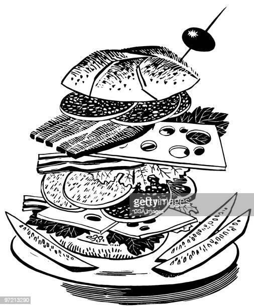 sandwich - hamburger stock illustrations, clip art, cartoons, & icons