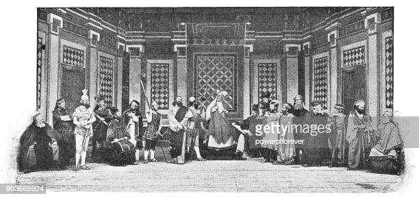 sanhedrin trial of jesus at passion play in oberammergau, germany - 19th century - stage set stock illustrations