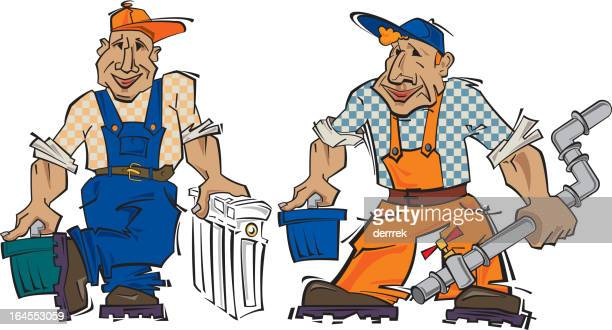 sanitary technician - water treatment stock illustrations, clip art, cartoons, & icons