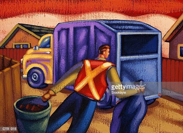 ilustrações de stock, clip art, desenhos animados e ícones de sanitation worker carrying garbage to truck - gari