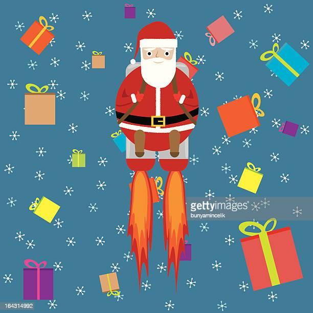 santa claus and christmas gifts - arugula stock illustrations, clip art, cartoons, & icons