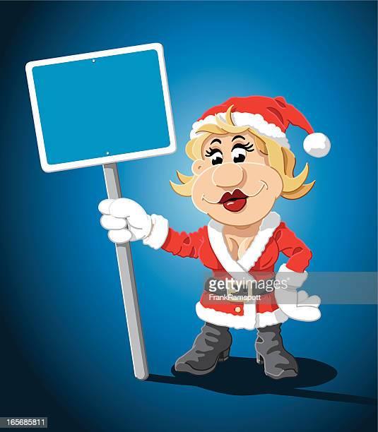 Santa Claus Cartoon Woman Blank Blue Sign