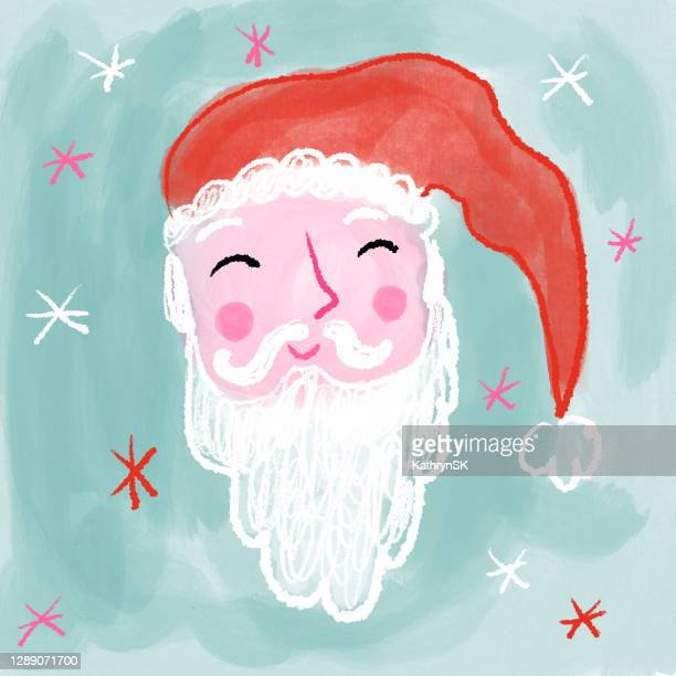 santa claus face drawing - kathrynsk stock illustrations