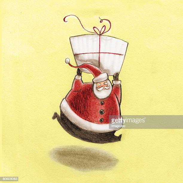 santa claus holding a giant present above his head - number of people stock illustrations, clip art, cartoons, & icons