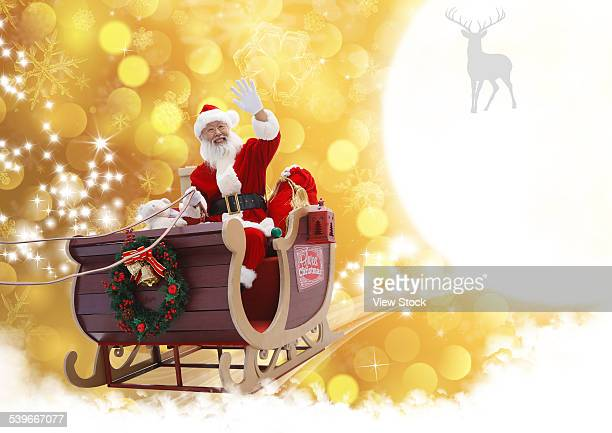 Santa Claus in Sleigh with gifts
