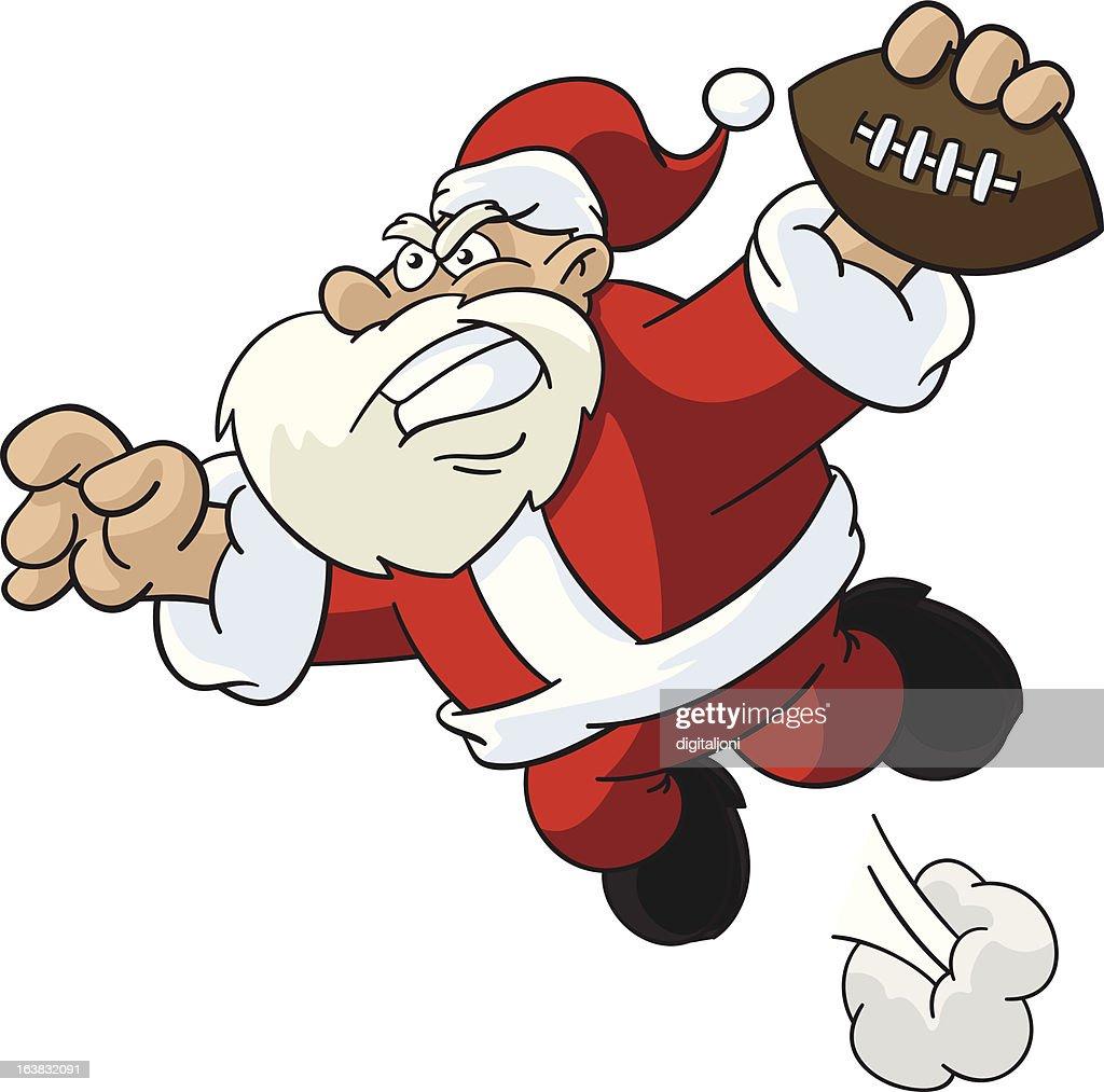 Santa Claus Jumping For Touchdown
