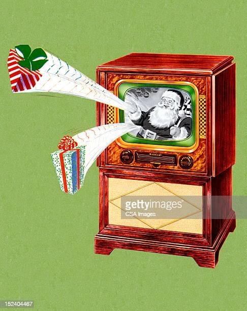 サンタクロースのテレビ - 動画関連点のイラスト素材/クリップアート素材/マンガ素材/アイコン素材