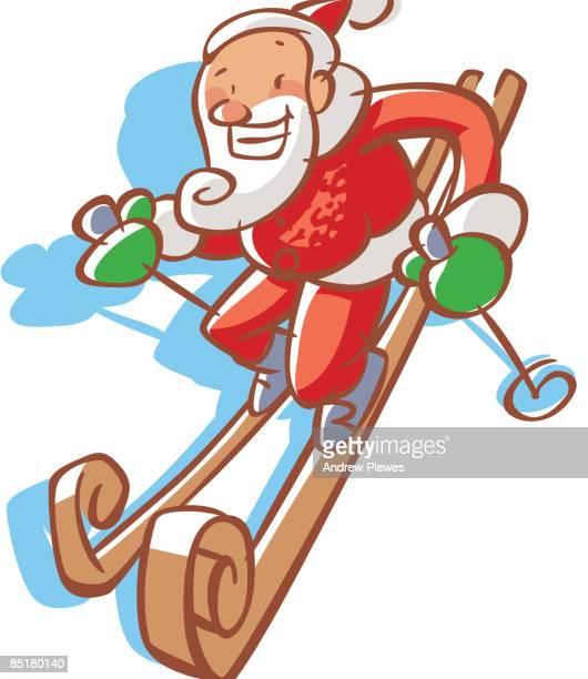 illustrations, cliparts, dessins animés et icônes de santa claus skiing downhill - ski humour