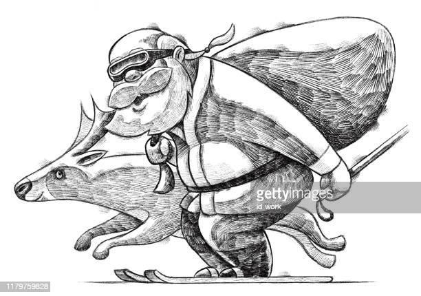 illustrations, cliparts, dessins animés et icônes de santa claus ski avec dessin de renne - ski humour