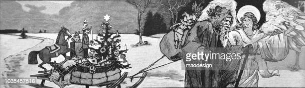 santa claus with angel pulls sledges with christmas presents - 1895 - christmas past and christmas present stock illustrations