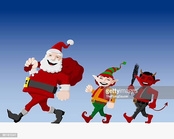 santa claus with elf and pickle - rod stock illustrations, clip art, cartoons, & icons
