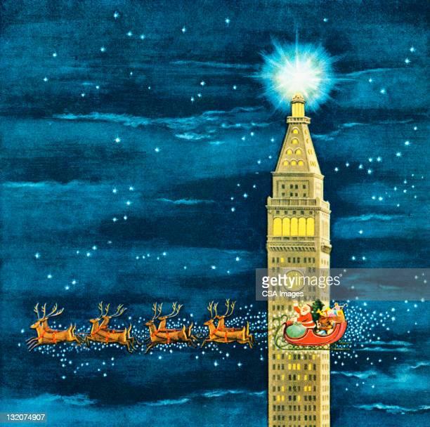 Santa Flying Past Clock Tower