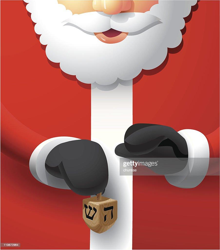 Santa Holding a Dreidel