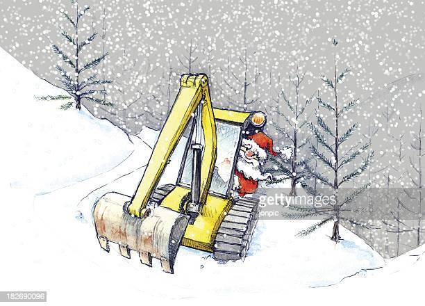 Santa in a Digger