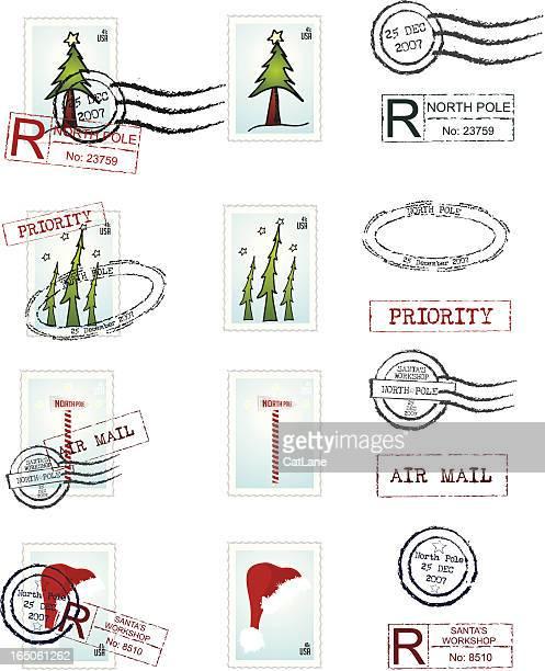 santa mail - postmark stock illustrations