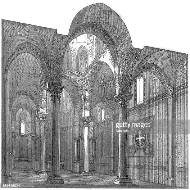 ilustrações de stock, clip art, desenhos animados e ícones de santa maria dell' ammiraglio church (la martorana). palermo-italy - nicho