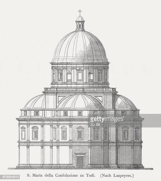 santa maria della consolazione in todi, italy, published in 1884 - architectural feature stock illustrations, clip art, cartoons, & icons
