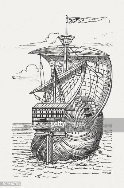 Santa Maria, flagship of Christopher Columbus, wood engraving, published 1880