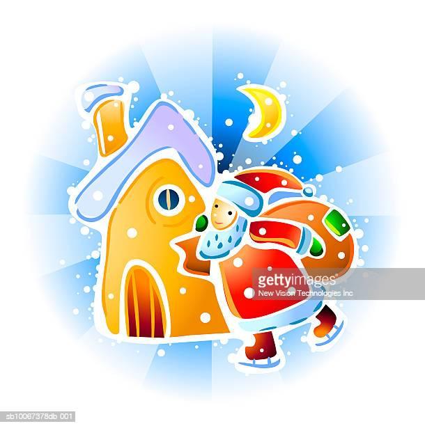 Santa on skates delivering presents