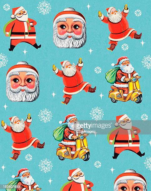 santa pattern with snowflakes - moped stock illustrations, clip art, cartoons, & icons