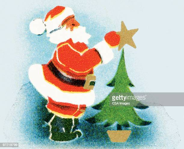 santa puts the star on the tree - old fashioned stock illustrations