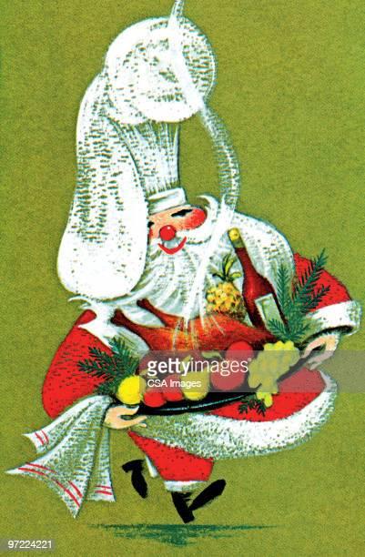 santa serving food - chef stock illustrations