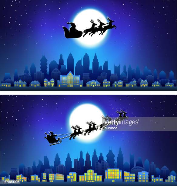 santa sleigh on christmas eve with city skyline panoramic background. - goodie bag stock illustrations, clip art, cartoons, & icons