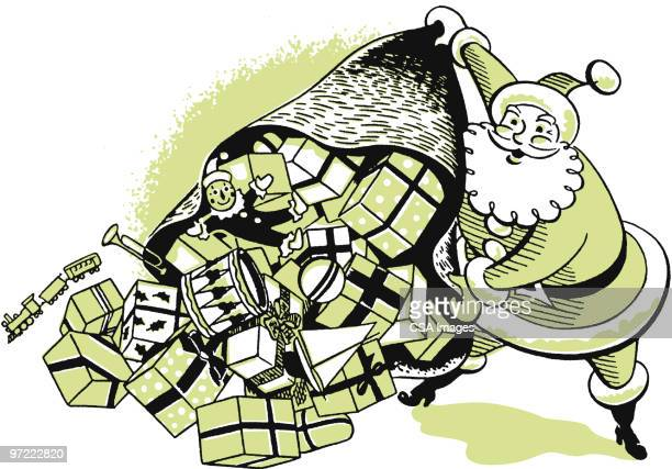 santa with a big bag of gifts - giving stock illustrations