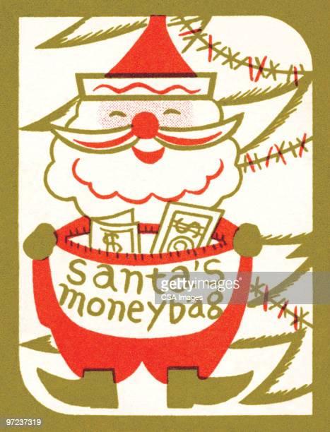 santa's moneybag - christmas cash stock illustrations