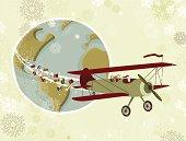 Santa's plane around the world