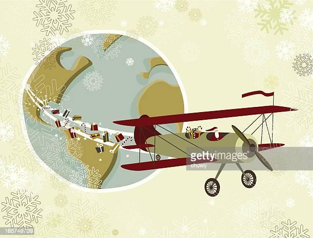 ilustraciones, imágenes clip art, dibujos animados e iconos de stock de santa's avión de todo el mundo - chuwy
