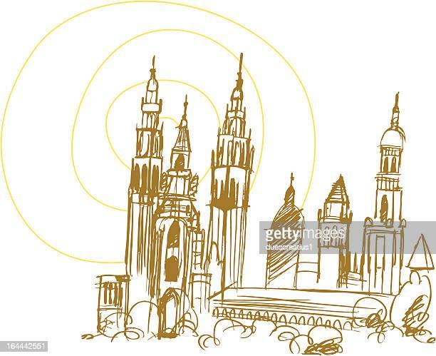 santiago de compostela cathedral - santiago de compostela stock illustrations, clip art, cartoons, & icons