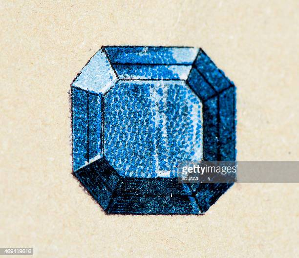 Sapphire, mineral stone antique illustration